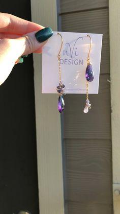 Dangly purple earrings - Famous Last Words Gold Bar Earrings, Purple Earrings, Dangly Earrings, Tanzanite Earrings, Gemstone Earrings, Minimalist Earrings, Minimalist Jewelry, Earrings Handmade, Jewelry Crafts