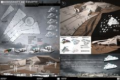 Biodiversity and Aquatic Science Park on Behance Architecture Board, Concept Architecture, Architecture Drawings, Science Park, Science Museum, Architectural Thesis, Architectural Presentation, Presentation Board Design, Presentation Techniques