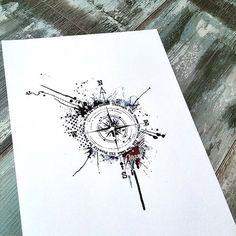 """Gefällt 92 Mal, 4 Kommentare - Bunette (@thebunettedesigns) auf Instagram: """"#compasstattoo #trashpolka #bunette #tattoo #compass"""""""