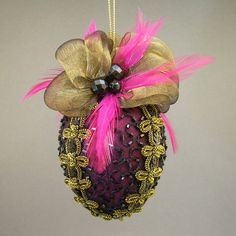 """Caprice No.1"" by Towers and Turrets - Hot Pink Metallic Lamé and Black Beaded Silk Christmas Ball Ornament with Czech Glass Beads and Feathers - Victorian Inspired, Handmade Towers and Turrets"