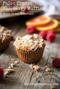 Paleo and gluten-free Orange Raspberry Muffins by Thriving On Paleo