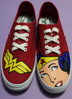 Custom Painted Wonder Woman Shoes by ArtofaSilentBee on Etsy, $60.00