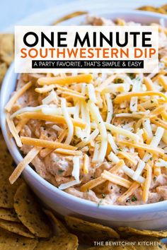 Easy, one bowl Southwestern Dip. This dip recipe is a party favorite and takes one minute to make. Serve this cold taco dip with tortillas, crackers or with a vegetable platter. Cold Appetizers, Appetizer Dips, Appetizer Recipes, Cheese Appetizers, Cold Taco Dip, Easy Taco Dip, Cold Dip Recipes, Easy Dip Recipes, Party