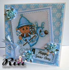 Love this card by Ria ZonneStraaltje. She used Elf up and away and winter ticket sentiments from www.digitaldelightsbyloubyloo.com. Don't miss our thanksgiving sale on till Monday at midnight