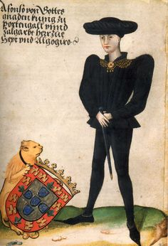 King Afonso V of Portugal, hand-colored sketch from the journal of Georg von Ehingen Dom Manuel, Memoir Writing, Richard Iii, Blue Bloods, Period Costumes, Dark Ages, Illuminated Manuscript, Illuminated Letters, 15th Century