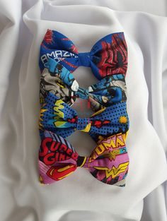Comic Superhero Action Words Bowtie by PerfectlyCraftedByT on Etsy, Hairbow, Headband