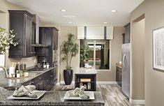 Traditional Kitchen with Flush, U-shaped, Undermount sink, Hardwood floors, Kitchen island, Marble.com azul platino granite