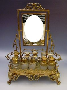"Antique French Bronze Perfume Vanity ""Mirror and Figural Feet"""