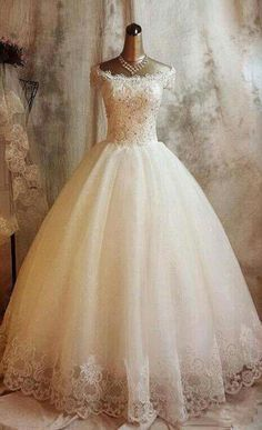 Long Ball Gown Lace Wedding Dresses,Beaded Back Up Lace Wedding Gown Dream Wedding Dresses, Bridal Dresses, Wedding Gowns, Tulle Wedding, Wedding Hair, Ivory Wedding, Elegant Wedding, Wedding Venues, Wedding Simple
