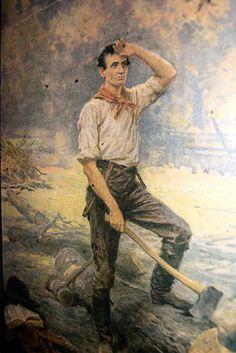 The Railsplitter, Abe Lincoln Splitting Wood -- Jean Leon Gerome Ferris (1863 – 1930)