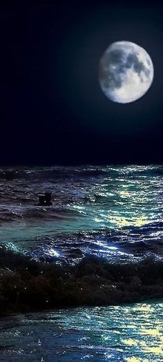 The Moon And Ocean Tides. Look at the range of beautiful colors in that ocean -- teal to blue to purple, mirrored in the moon. Beautiful Moon, Beautiful World, Sun Moon, Stars And Moon, Moon Sea, Moon Shine, Moon River, Ciel Nocturne, Shoot The Moon