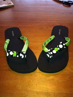 Ribbon Decorated Flip Flops by FrillyFllops on Etsy, $10.00