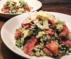 Risotto met Gorgonzola, Spinazie & Ham