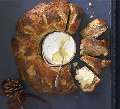 Melting cheese with poppy & apricot bread wreath recipe - Recipes - BBC Good Food Bbc Good Food Recipes, Gourmet Recipes, Yummy Food, Apricot Recipes, Wine And Cheese Party, Home Baking, Melted Cheese, Food Processor Recipes, Favorite Recipes