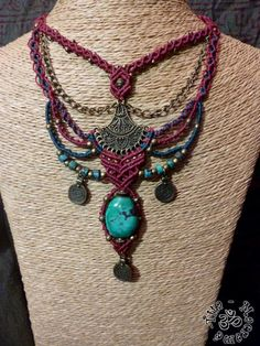 Unique Tribal necklace with Turquoise stones and by TitaMacrame
