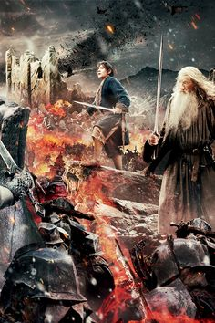 The Hobbit: The Battle of the Five Armies Tapestry close up, Bilbo and Gandalf.