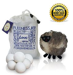 Brio Living Handmade Organic Wool Dryer Balls shortens drying time saving you energy costs,  softens your laundry and eliminates static cling and wrinkles without harmful chemical-laden fabric softeners. Eco- friendly and natural.   Makes the perfect any-occasion gift!  Click on picture to buy on Amazon.