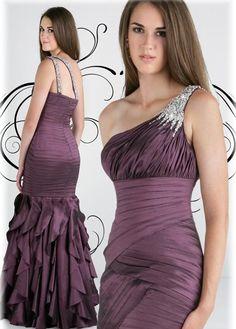 Beaded Mermaid One Shoulder Burgundy Evening Gowns