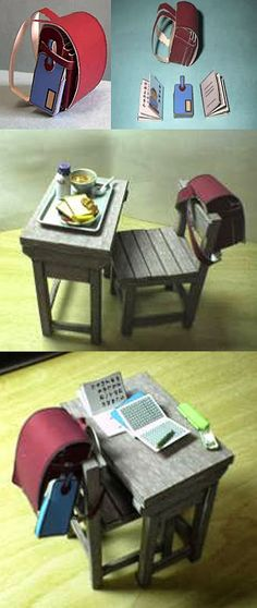 HOUSE OF PAPER: dollhouse paper: school desk, school desk by ariakenet
