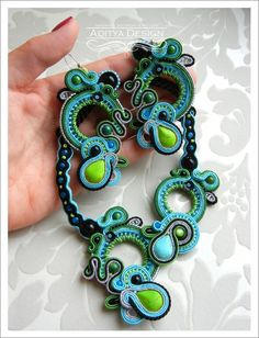 Soutache Jewelry Set, Soutache Earrings Necklace, Blue Green Black, Multicolor Jewelry, OOAK, Handmade Jewelry, Statement Jewelry, Beadwork, Dangling Earrings, Zafira Model by AdityaDesign