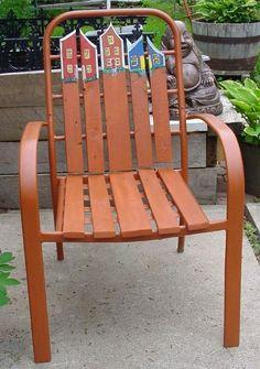 old metal chair rehab....cute!