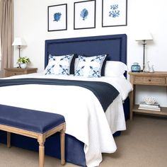 Our stunning navy linen studded bedhead captures the style and grace of classic Hamptons decor. Best Picture For home decor styles spanish revival For Your Taste You are looking for something, and it Blue Bedroom Decor, Bedding Master Bedroom, Bedroom Wall, Costal Bedroom, Navy Home Decor, Bedroom Ideas, Hamptons Style Bedrooms, Hamptons Decor, Navy Bedrooms