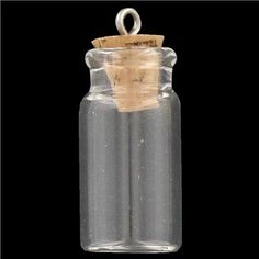These clear Glass Bottle Charms with Cork make great accessories for bracelets, necklaces and more. Create a message-in-a-bottle-themed accessory with these dainty bottles!        Dimensions:      Width: 12mm    Height: 24mm          Package contains 2 bottles.