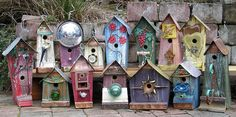 Trash to Treasure Birdhouse Inspiration - Garden Therapy.. I think some Fairy's would look good in these!