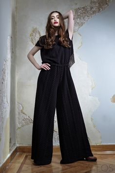 'Jasper' Black Halterneck Jumpsuit by Nidodileda