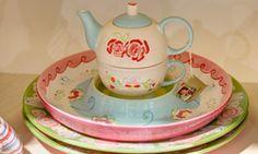 #tea-for-one   #C'est la Vie \ #bloemen   #roze   #blauw   #groen   #World of Jet   #servies