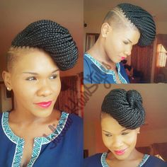 Marley braids with shaved sides