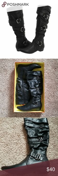 Gabriella Rocha Black boots Cervetti black ankle boots with 3 buckles, suede wedge uniquely made with real leather, I've only wore them for at least 5 times and now they don't fit me anymore so I would like to give it to someone that we really enjoy them. Gabriella Rocha Shoes Ankle Boots & Booties