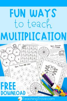 Teaching multiplication to your grade students should be fun. Use anchor charts and flip books to introduce each multiplication strategy and then hands-on games, activities and printables to help them remember their times tables. The multiplication ac Multiplication Activities, Math Activities For Kids, Math For Kids, Math Fractions, 3rd Grade Activities, Multiplication Tables, Numeracy, Math Worksheets, Kids Fun