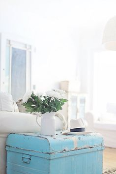 beach cottage blue coastal trunk - Cottage Decorating Blogs