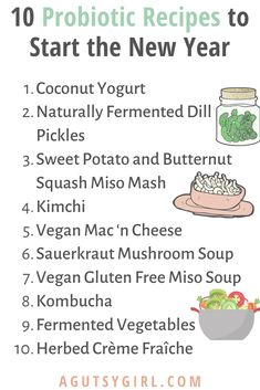 10 Probiotic Recipes to Start the New Year agutsygirl.com #probiotics #probiotic #guthealth #healthyliving