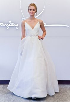V-neck A-line wedding dress from Blush by Hayley Paige | Hottest Dresses from New York Bridal Fashion Week Spring 2015