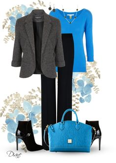 """Bright Blue & Black"" by diane-hansen ❤ liked on Polyvore"