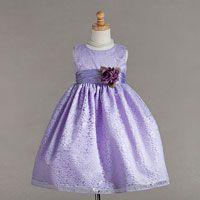 Flower Girl Dresses - Flower Girl Dress Style 862- Sleeveless Bridal Lace Dress with Flower Detailing