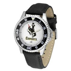 "Wyoming Cowboys NCAA ""Competitor"" Mens Watch by SunTime. $73.79. Color Coordinated. Rotating Bezel. Calendar Date Function. Showcase The Hottest Design In Watches Today! A Functional Rotating Bezel Is Color Coordinated To Highlight Your Favorite Team Logo. A Durable, Long Lasting Combination Nylon/Leather Strap, Together With A Calendar Date, Round Out This Best Selling Timepiece."