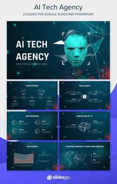 Present your AI Tech Agency with this free theme for Google Slides and PowerPoint Marketing Presentation, Presentation Design, Presentation Templates, Microsoft Powerpoint, Case Study, Typography, Social Media, Tech, Google