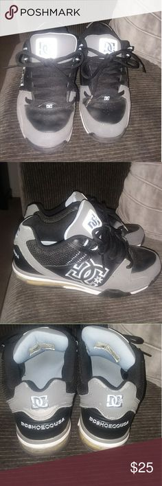 Mens DARK Gray and Light Blue DC Shoes Semi good condition plastic on the back bottom is cracked. DC Shoes
