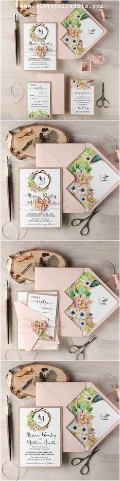 Peach succulents wedding #invitations #4lovepolkadots #wedding #succulents #weddinginvitations #peachwedding #bohowedding