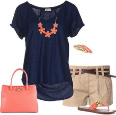 By The Sea In Coral There is nothing that I do not like about this. Send me this whole outfit Stitch Fix! Makesure the shorts are mid-thigh. Mode Outfits, Short Outfits, Casual Outfits, Fashion Outfits, Casual Shorts, Dress Casual, Casual Sneakers, Fashion Trends, Fashion Tips