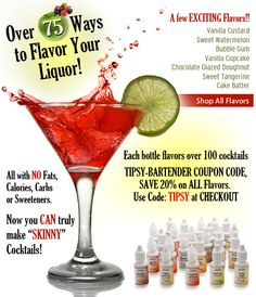 Flavor Vodka, Martinis or your Favorite Cocktails with Capella Flavor Drops for Flavoring Liquor