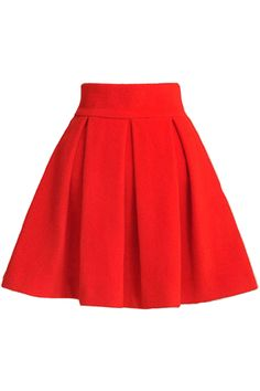 { Red Pleated Skirt }