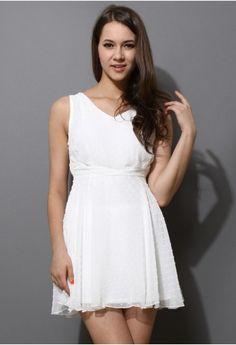 White Polka Dots Chiffon Dress