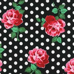Michael Miller  Lucy in Black  Half Yard by BobbieLouFabric