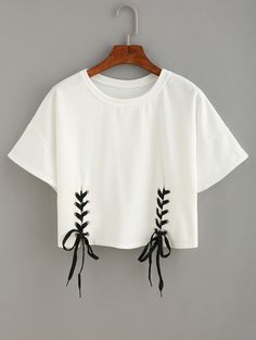 Shop Double Lace-Up Hem Crop T-shirt online. SheIn offers Double Lace-Up Hem Cro - French Shirt - Ideas of French Shirt - Shop Double Lace-Up Hem Crop T-shirt online. SheIn offers Double Lace-Up Hem Crop T-shirt & more to fit your fashionable needs. Crop Top Outfits, Crop Top And Shorts, T Shirt And Shorts, T Shirt Diy, Mode Outfits, Crop Shirt, Shirt Outfit, Shirt Blouses, Lace Up T Shirt