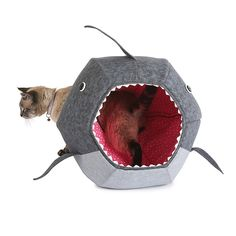 Test your cat's fearlessness with this handmade bed, made to look like the jaws of a very hungry shark.