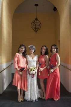 Mismatched orange bridesmaid dresses ~  Nikki Ritcher Photography bridesmaids | Big Fashion Show orange bridesmaid dresses